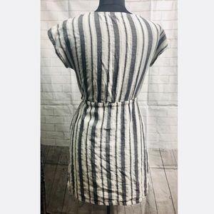 Love Riche Dresses - Love Riche Gray Cotton Stripes Tie Waist Dress
